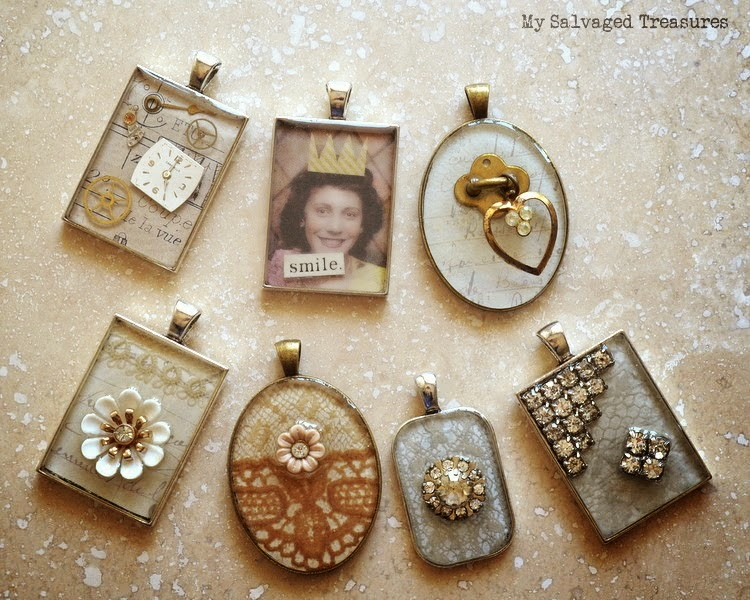 Ice Resin Pendants with vintage lace and jewels
