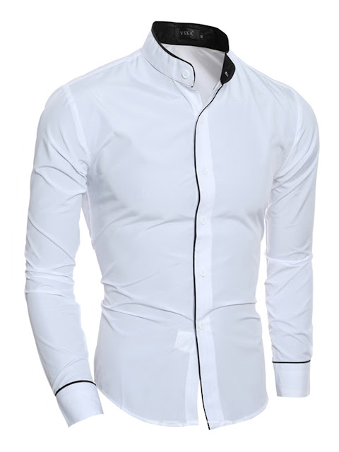Ericdress Plain Stand Collar Casual Slim Men's Shirt