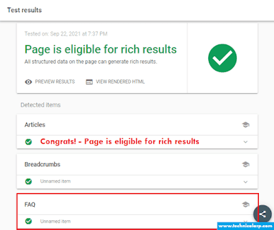 Add FAQ in Blogger Validate google structure data tool