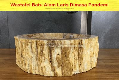 wastafel unik dari batu fosil