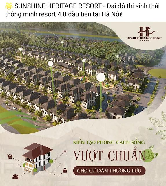 Biệt thự Sunshine Heritage Resort Phúc Thọ Hà Nội - Kiến trúc chuẩn Resort 4.0