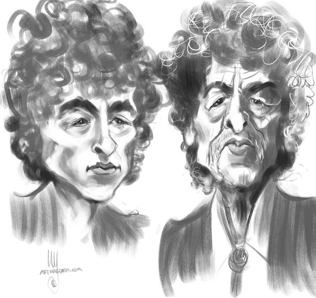 Bob Dylan a caricature by Artmagenta