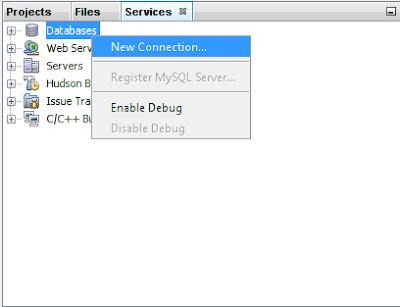 Membuat Koneksi Baru, New Connection, Java Netbeans