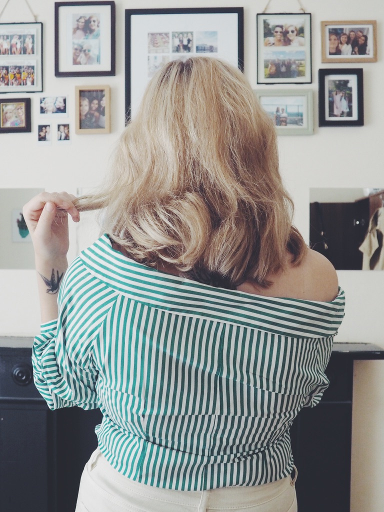 blondehair, brunettetoblonde, hairstory, zaragreenandwhitestripedshirt, fbloggers, hairpost