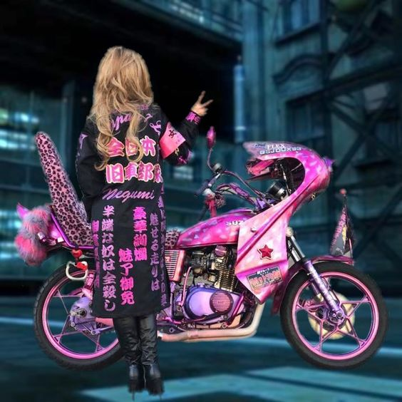 Bosozoku girl with pink motorcycle