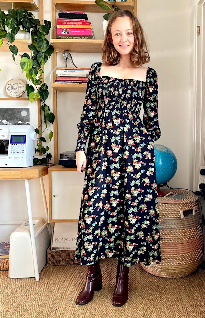 Diary of a Chain Stitcher: Victory Patterns shirred Sofia Dress in Hana Viscose Twill from Fabric Godmother