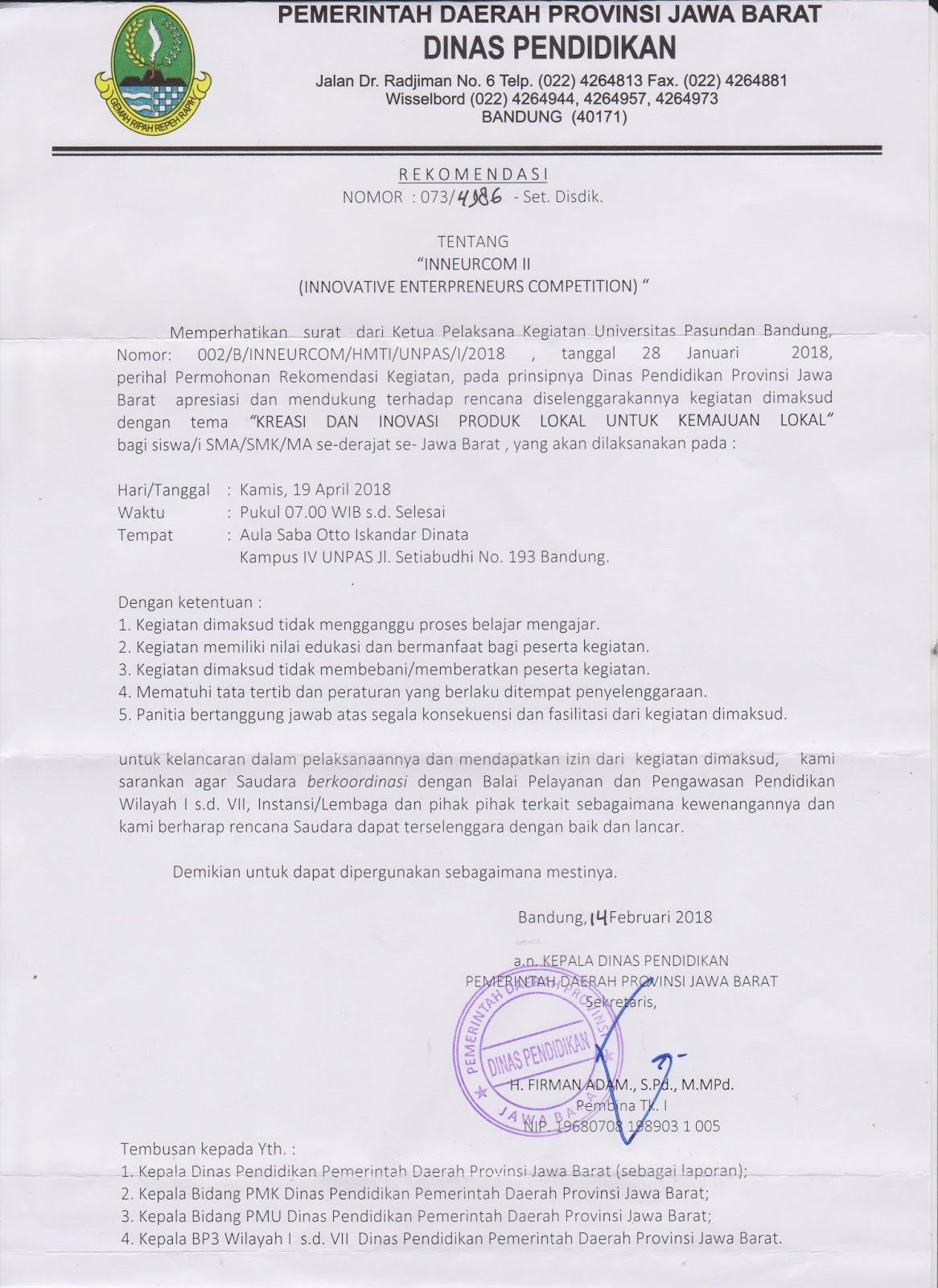 Surat Rekomendasi Dinas Pendidikan Jawa Barat Inneurcom