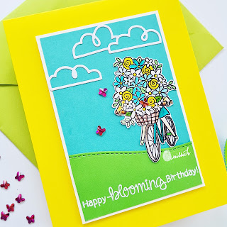Happy blooming birthday by Ishani features Loads of Bloom by Newton's Nook Designs; #inkypaws, #newtonsnook, #cardmaking, #springcards