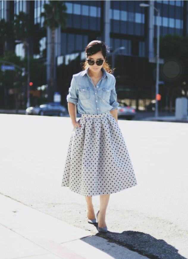 Jeans shirt with polka dot skirt