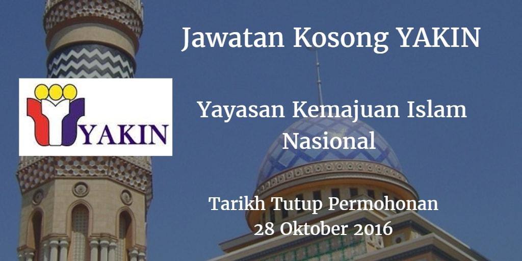 Jawatan Kosong Yayasan Kemajuan Islam Nasional 28 Oktober 2016