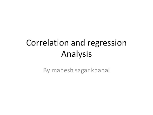 Correlation and regression analysis (reference material)