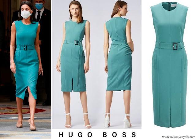 Queen Letizia wore a turquoise green dadoria midi length shift dress from Hugo Boss