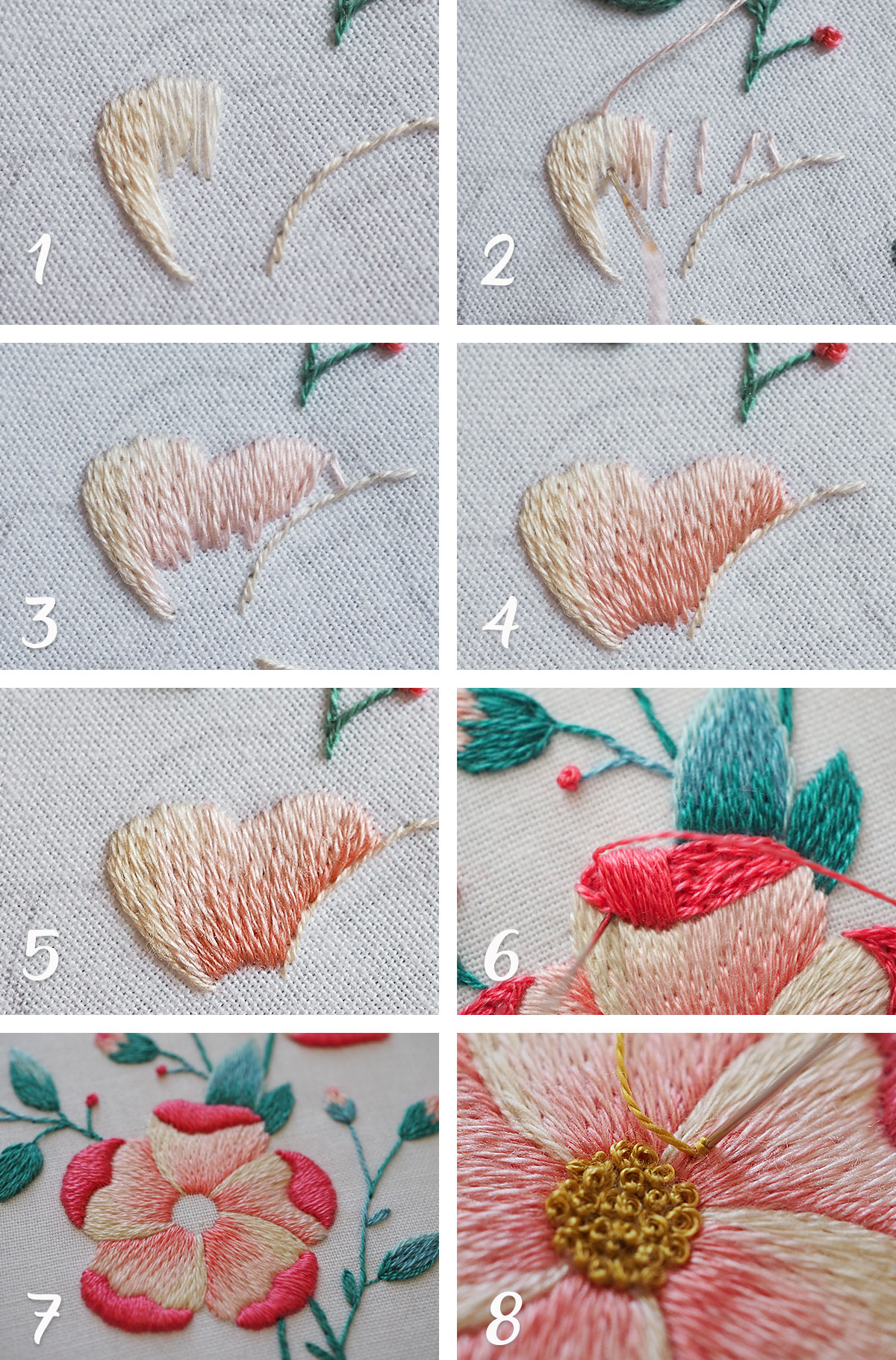 embroidery flowers tutorial