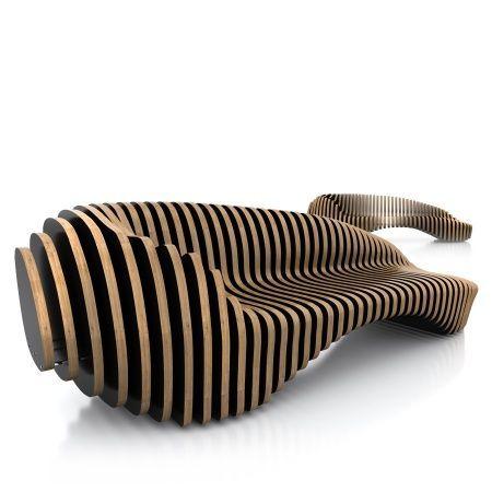 Nowoczesna ławka do parku z drewna desek sklejki cnc 3d