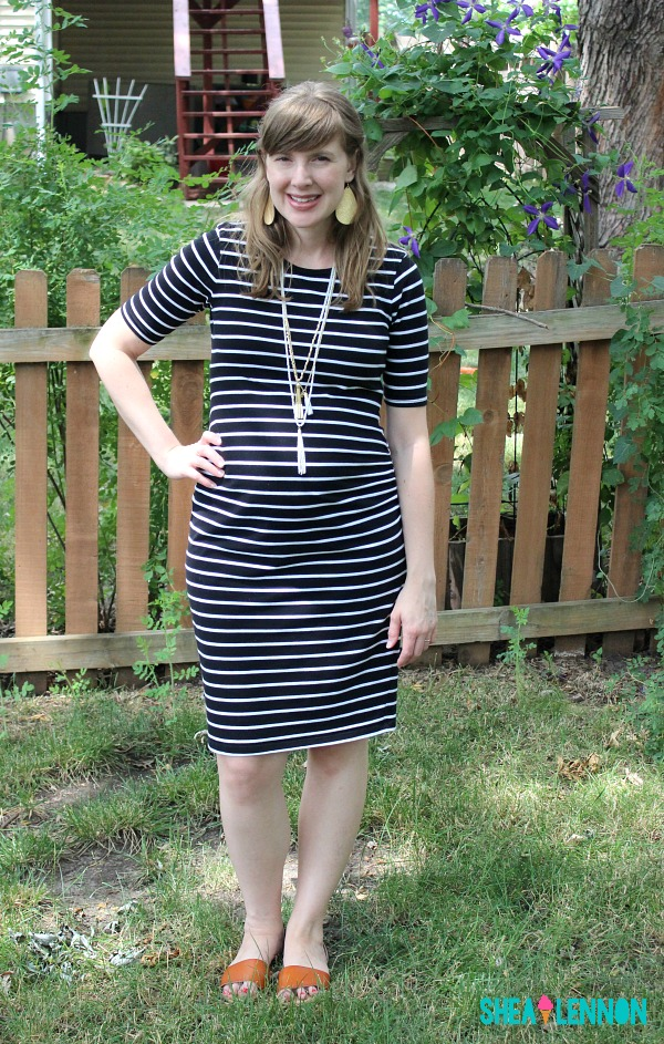 With bold jewelry and simple sandals, this striped dress is easily dressed up for summer.