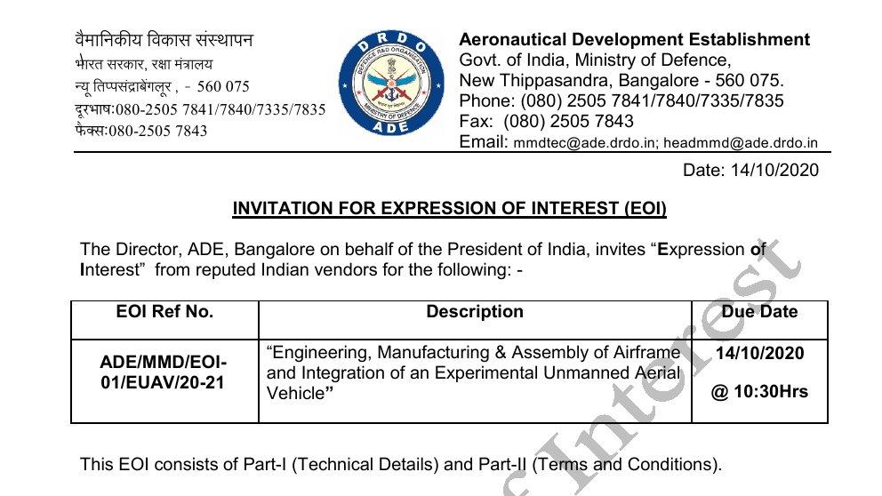 EOI - Experimental Unmanned Aerial Vehicle - Aeronautical Development Establishment - ADE - 01