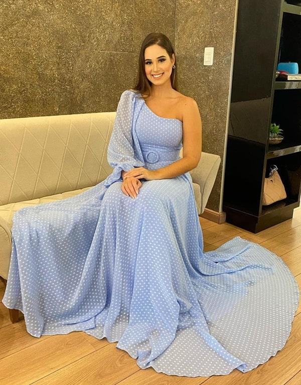 vestido longo azul serenity poas para madrinha de casamento