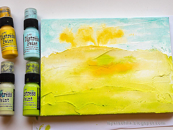 Layers of ink - Spring Canvas Mixed Media Tutorial by Anna-Karin Evaldsson. Paint with acrylic paint.