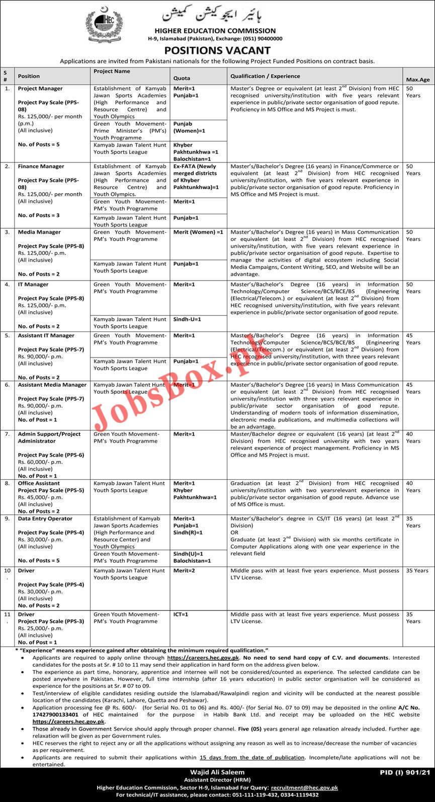 HEC Jobs 2021 Apply Online - Higher Education Commission HEC Jobs 2021 in Pakistan - HEC Careers