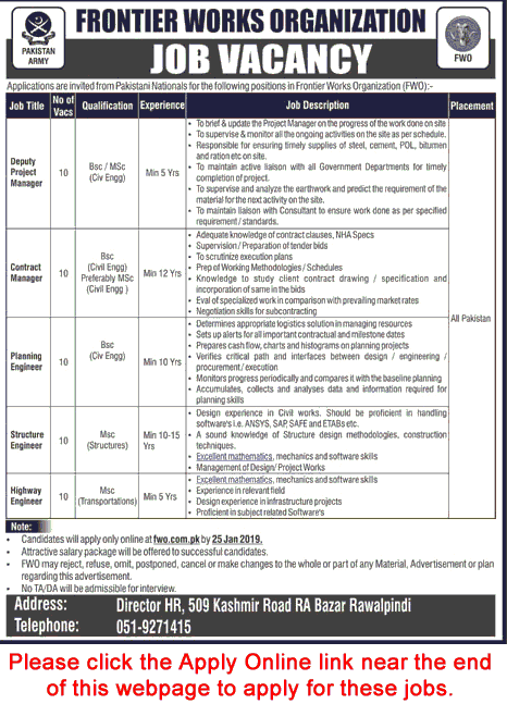 Engineering and Manager jobs in islamabad