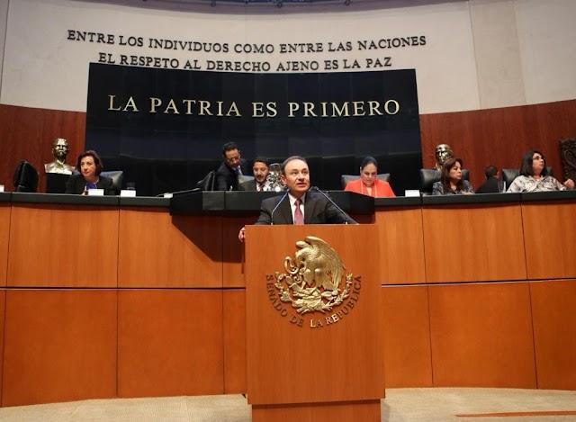 ALFONSO DURAZO EXPONE LA ESTRATEGIA NACIONAL DE SEGURIDAD ANTE EL SENADO DE LA REPÚBLICA