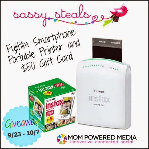 Enter the Sassy Steals Giveaway for a portable printer. Ends 10/7.