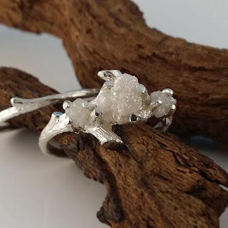 Hand sculpted Twig Bridal Set, hand sculpted, a one-of-a-kind 3 stone engagement ring or 3 stone mothers ring, Raw Uncut Diamonds, rough Diamonds, Cruelty Free Diamonds, White rough diamonds, 14k Gold 3 ring diamond ring,