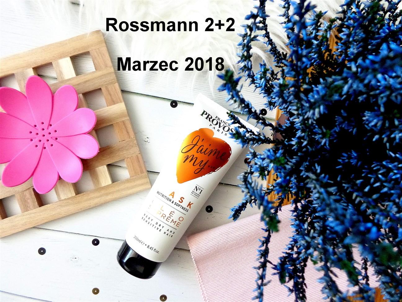 zdjęcie informujące o promocji w Rossmannie 2+2 na produkty do włosów w marcu 2018