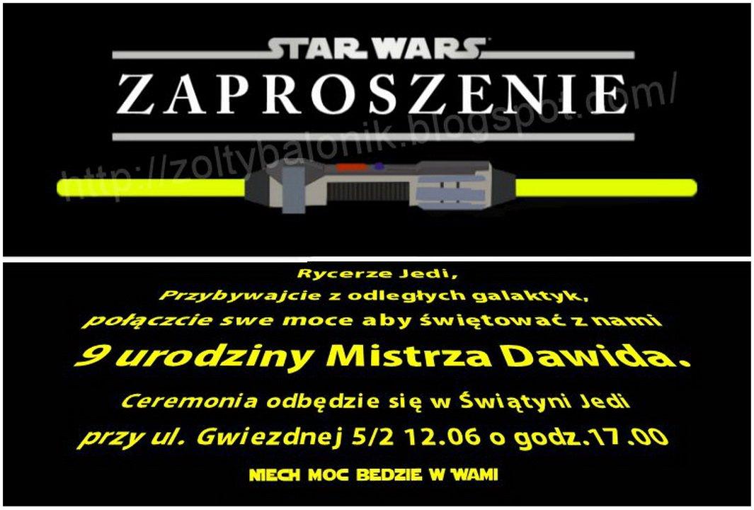 żółty Balonik Star Wars żółty Balonik Zaproszenie