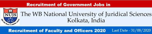 WBNUJS Faculty and Non-Teaching Officer Recruitment 2020