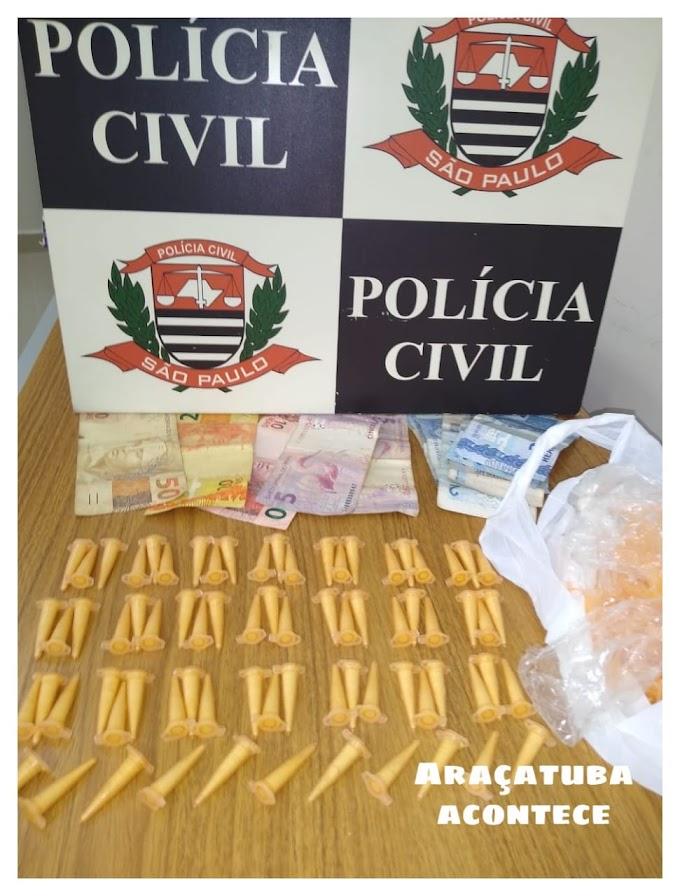 Dise prende rapaz com 74 pinos de cocaína em Araçatuba