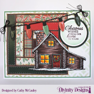 Stamp/Die Duos:  Home for Christmas  Paper Collection:  Christmas 2017 Mixed Media Stencils:  Circles Custom Dies:  Pierced Rectangles, Log Cabin Quilt, Christmas Lights, Circles, Pierced Circles