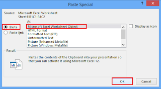 Paste Special dialog box appears