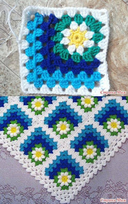 Flores de crochê - square
