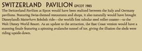 Epcot Switzerland Pavilion Disney Released Description