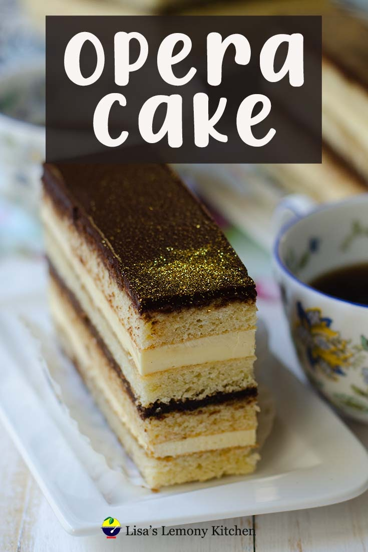 Opera cake is a French most loved dessert. Opera cake consists of layers of almond sponge soaked in coffee syrup, chocolate buttercream, chocolate ganache and chocolate glaze.