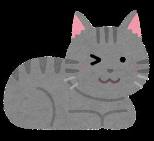 ウインクする猫のイラスト(サバトラ)