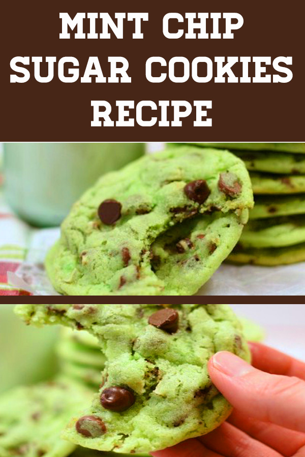Mint Chip Sugar Cookies are the an easy green sugar cookie recipe. Loaded with mint chips. No rolling, cutting out, or decorating! #sugarcookies #stpatricksday #stpatricksdaycookies #greensugarcookies #stpatricksdaysugarcookies #mintsugarcookies #mintcookies #mintchocolatecookies #dropsugarcookies #norolloutsugarcookies #cookies #baking #dessertfoodrecipes