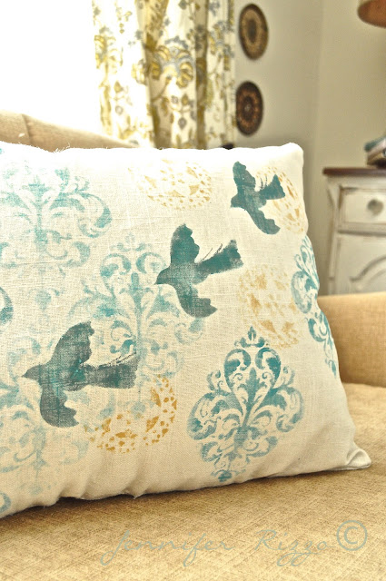 How to stencil on linen for your own custom fabric