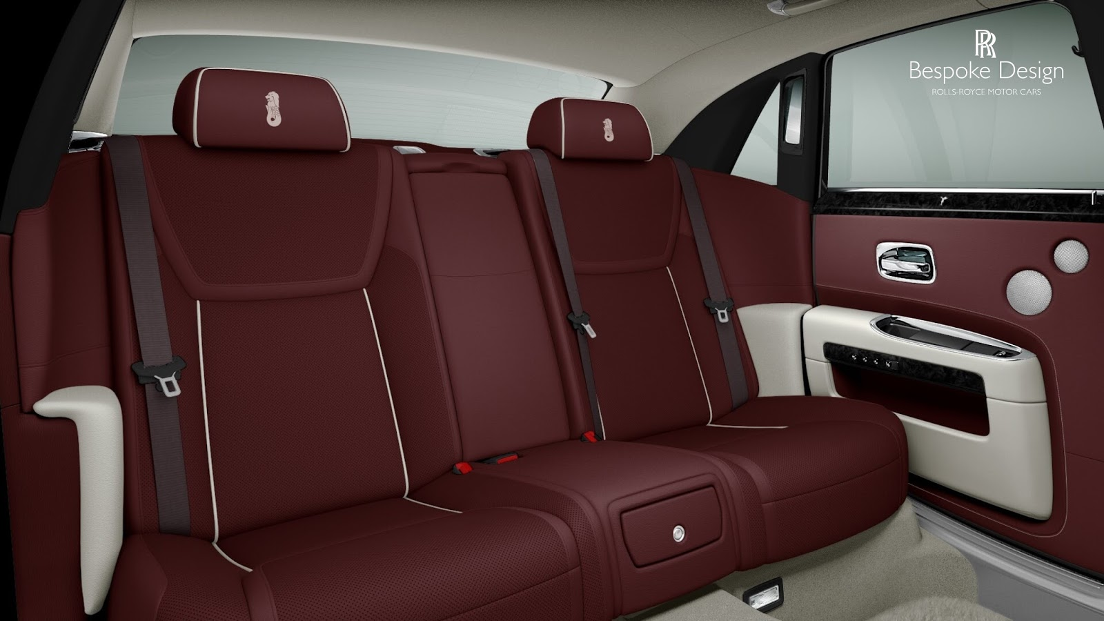 The interior features dark red leather seats that have Singapore's iconic Merlion stitched into each headrest.