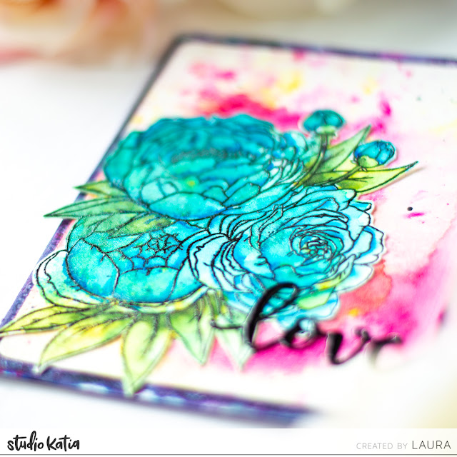 Watercolor with Tonic Studios Shimmer Powders and Studio Katia Floral