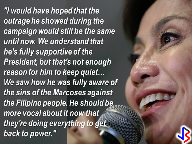 "Vice President Leni Robredo has issued a dare on Duterte running mate, Sen. Allan Peter Cayetano to speak against the Marcoses in spite of his loyalty to President Rodrigo Duterte. Robredo said that Cayetano's loyalty to President Duterte should not hinder the indignation he showed towards the Marcoses during the campaign period. Duterte consider the Marcoses as friends and Ferdinand Marcos burial to the LNMB was a fulfillment of his campaign promise.     However, Senator Cayetano responded to the Vice President's dare.  ""It is not my job right now to keep voicing out my opinions sa kalye,"" Cayetano said, amid criticisms over his silence on the matter.  On his  Facebook page, Senator Cayetano has a pinned post that reads:   ""Response To Ma'am Leni:   Thank you for the challenge. Let me assure you I am doing what I can, in the manner that I believe I can be most effective.   Let me return the favor and also challenge you with the following:   Ask how and why the drug problem got so bad and out of control.   Call out and demand that your LP allies involved in illegal drugs resign and be jailed.   Ask for justice for the SAF 44. Ask for justice for tanim bala victims.   Ask for an investigation and justice on MRT anomalies.   Expose other LP personalities' involvement in graft and corruption.   Ask for an investigation why despite expensive fees in the airport in the past admin, no CCTVs were purchased and installed.   Ask the PCIJ, Rappler and Inquirer to look into your donors and undeclared expenses during your campaign.   Ask ABS-CBN, and other media outlets that supported you to be fair and objective.   You were quiet about all of the above, but I respected your role and decision.   There's much more, but in a nutshell I challenge you to stop campaigning and thinking of The Presidency and help attract investments, build infrastructure, create jobs and redistribute wealth in our country.   Let's do it together.""       The vice president has not issued any response  yet as of this writing."