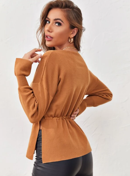Camel Brown drawstring sweater