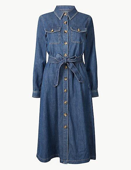 marks and spencer denim midi shirt dress