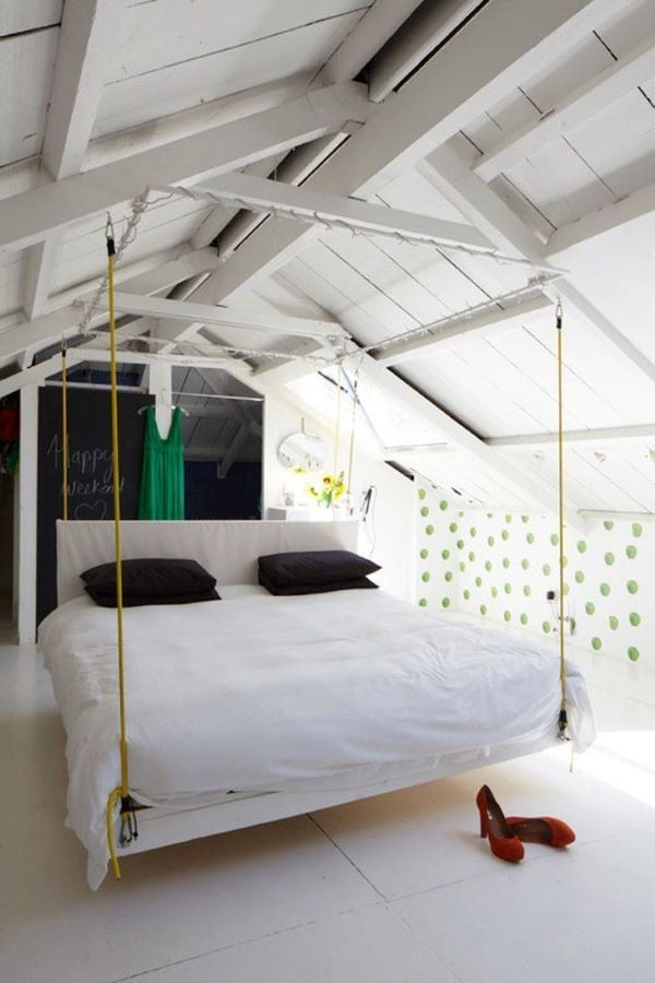 Modern room with suspended bed