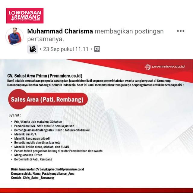 Lowongan Kerja Sales Premmiere CV Solusi Arya Prima Area Pati, Rembang