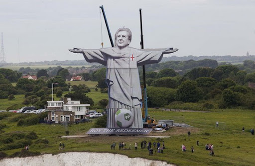 The statue of Roy the Redeemer stands at over 100ft tall in Dover