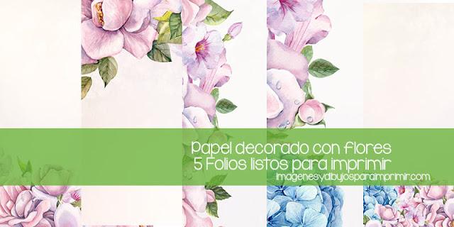 papel decorado con flores para imprimir