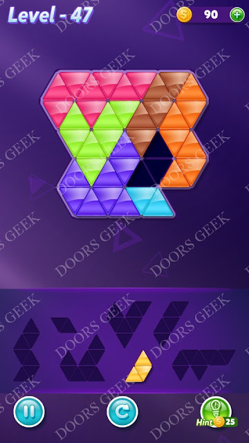 Block! Triangle Puzzle Advanced Level 47 Solution, Cheats, Walkthrough for Android, iPhone, iPad and iPod