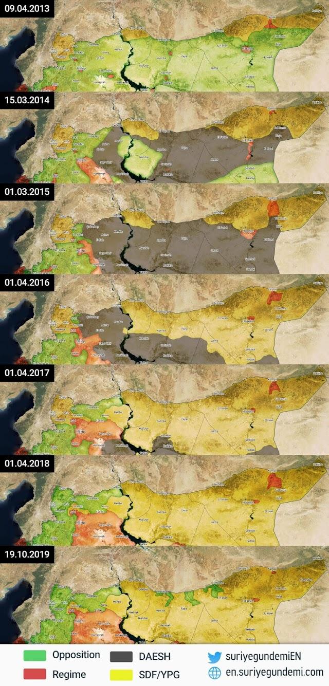 """خريطة الشمال السوري منذ 2013 وحتى 2019 ما بعد عملية """"نبع السلام"""""""